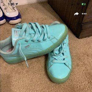 Teal puma sneakers
